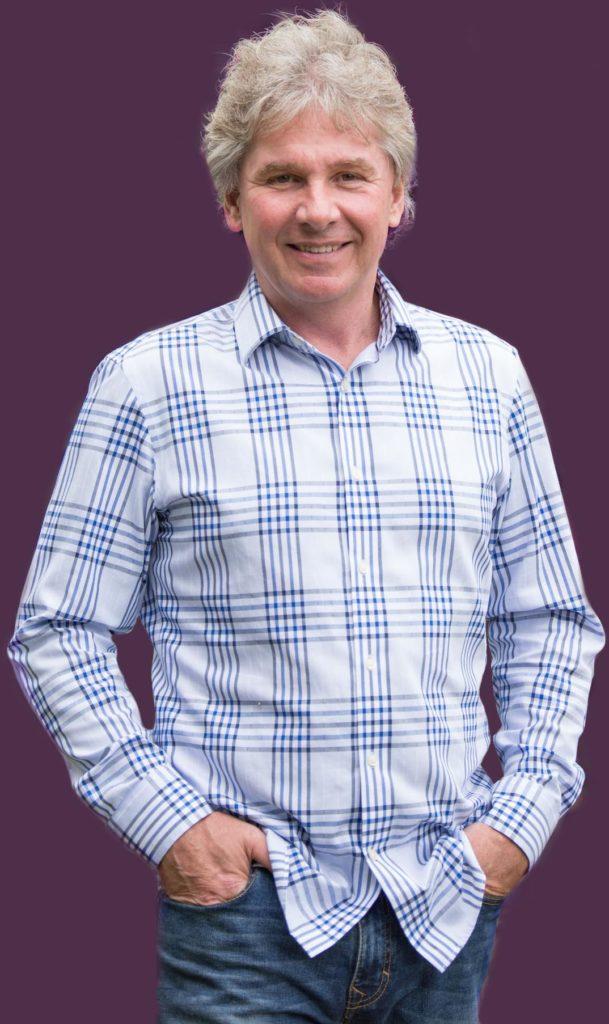 John Hands in pockets2 - Purple Background
